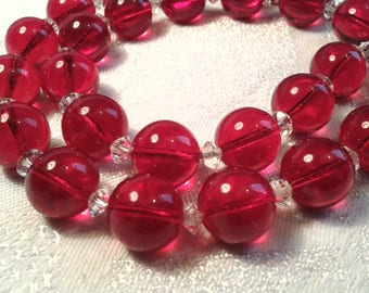 Vintage Art Deco Cherry Red Glass Bead Necklace.