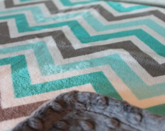 Minky Blanket Teal, Turquoise, Grey and White Chevron Print Minky with Grey Dimple Dot Minky Backing - Perfect Size for a Baby or Toddler