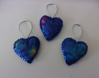 "Set of 3 Handmade Tie Dye Felt and Sequin Heart  Ornaments   2x2"" BLUE"