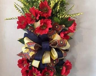 Poppy Floral Swag Wreath, Poppy Swag, Poppy Summer Wreath, Summer Wreath, Poppy Wreath