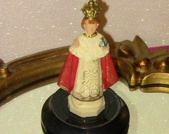 Antique Infant of Prague Statue with Dome Lid Bell Jar Christmas Gift Catholic Home Decor