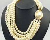 Multi Strand Faux Pearls Six Strands Designer Pearls Signed Carolee Decorative Clasp