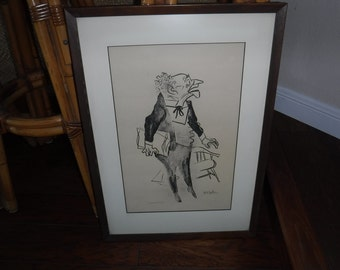 """William Gropper """"Caricature ATTORNEY"""" – 1960 Print – Original Signed Lithograph Artists Proof"""