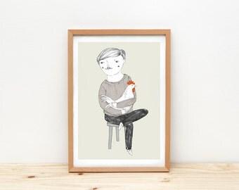 Monsieur Coq art print, illustration by depeapa, rooster drawing, A4 wall art, poster, modern art, wall decor, hipster man