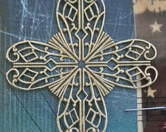 Brass Filigree Cross Stone Wrap, Brass Ox