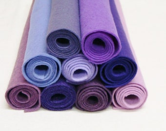 Purple 9 Color Pack Wool Felt Blend Fabric Sheets