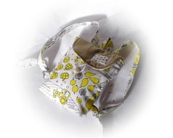 Linen Canvas black and white, yellow  backpack, children bag, mini backpack rucksack, girl bag, canvas kid backpack