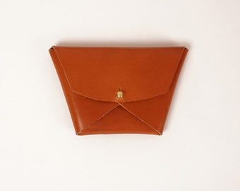 Tan leather geometric wallet | EMMA