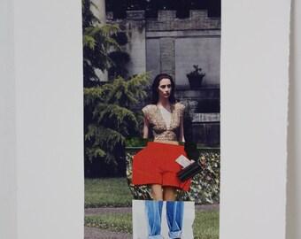 Original Magazine Collage Fashion Illustration // fashion art, collage art, red, scenic , spliced art, apartment art, art gifts, decor