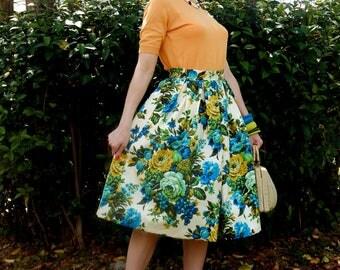 Custom made floral skirt, high waisted floral full skirt, all sizes