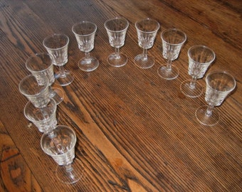 """Set of 11 Clear Cordial Liqueur Glasses Stemmed 3.5"""" Tall 1950s or 60s"""