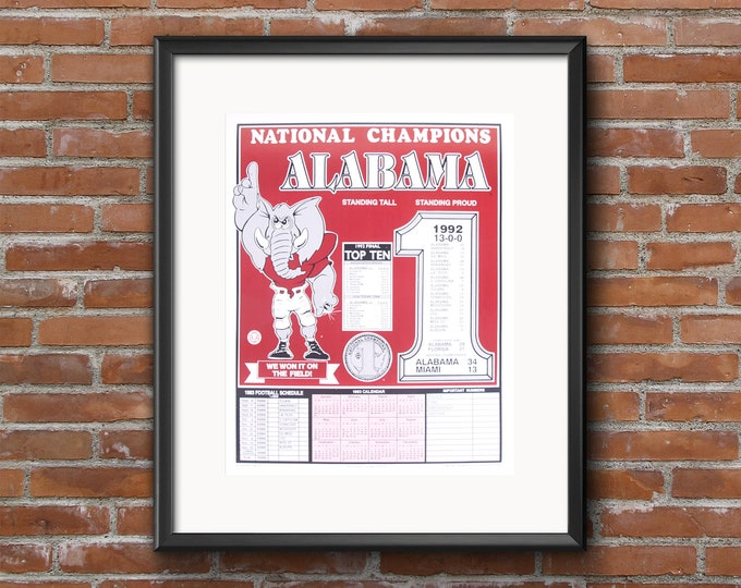 Vintage 1992 National Championship Print / University of Alabama Calendar Poster / Unique Alabama Football Picture /Alabama Collectible Gift