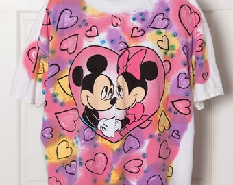 Vintage 90s Mickey and Minnie Hearts Oversized Tshirt - MICKEY UNLIMITED