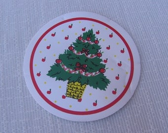 Christmas Vinyl Coasters, Set of SIX, New Old Stock, Vintage 1989, Table Decor, Kitchen Gadgets, Christmas Coasters, Vinyl MyVintageTable