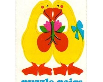 SALE Rare Vintage Illuminations Puzzle Pairs Adorable Ducks Sticker 1983 Geese