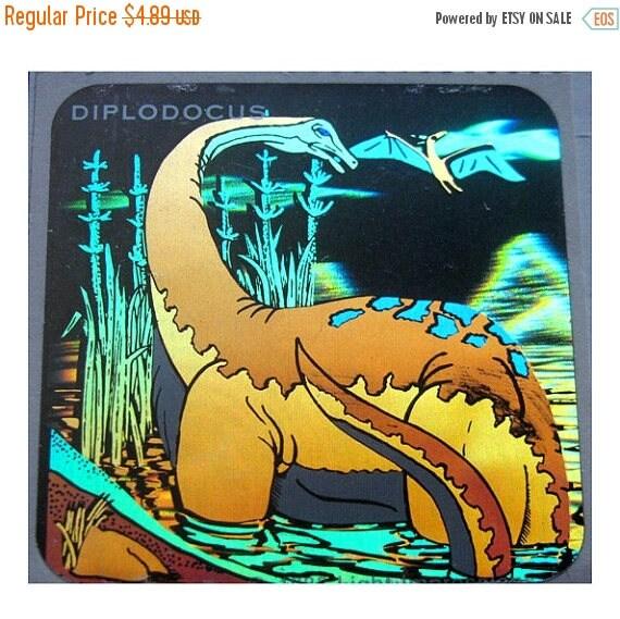 SALE Rare Vintage Hologram Dinosaur Sticker - Holographic Diplodocus Dino Scrapbook Collage