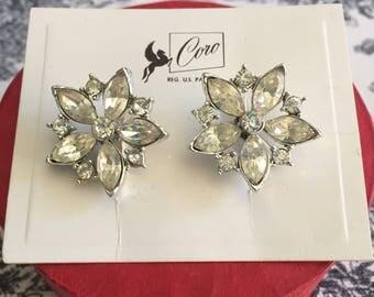 Coro Screwback Earrings Clear Rhinestones unused New/Old on Original Card