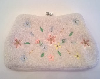 Beaded and Embroidered Evening Bag -  White Beads with Embroidered Floral Design