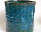 Ceramic Utensil Holder, Teal Green Pottery Kitchen Utensil Caddy, Handmade Ceramic Wine Chiller, LaurenBauschOriginal