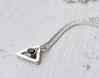 Silver Black Gemstone Triangle Necklace, Delicate Sterling Silver Stone Necklace, Geometric Necklace, Gemstone Necklace, Silver Necklace