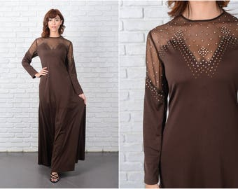 Vintage 70s Brown Maxi Dress Sheer neckline Cutout Mod Glam medium M 9499