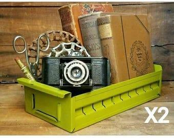 Set of Two Vintage Industrial Bold Bright Green Drawer Storage Bin / Desk Organizer / Succulent Planter