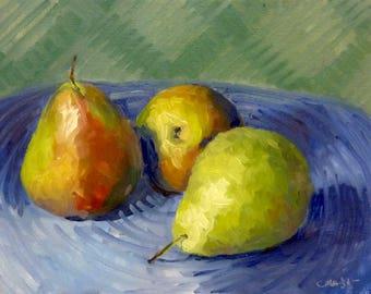 Succulent Pears Original Still Life Oil Painting