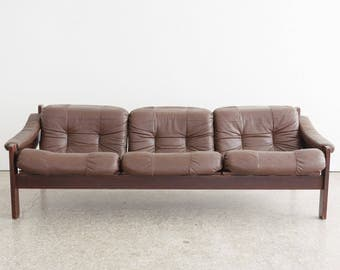 Mid Century Stranda Leather Sofa / Couch