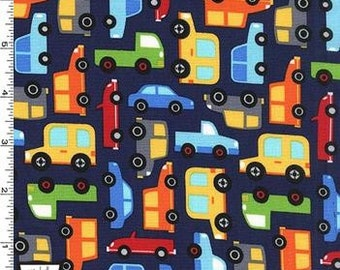 Cars Allover on Navy in Michael Miller's Traffic Jam Collection - Choose Your Cut