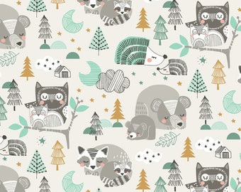 Sleepyheads Blue from Blend Fabric's Sweet Dreams Collection by Maude Asbury - A Whimsical Woodland Collection