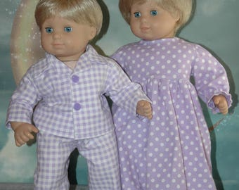 American, made, doll, flannel, nightgown, pajamas, bitty, twin, 15 inch doll