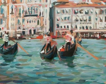 """Venice Gondoliers // Original painting by Joanne Hastie (Italy no. 23)  // 14"""" x 19"""""""