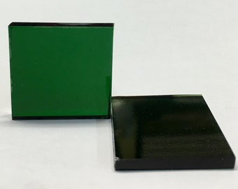 """DARK GREEN - 1"""" Square - Stained Glass Mosaic Tile M10"""