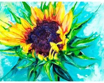 """5x7"""" Sunflower Art Abstract Watercolor Fine Art Print [Watercolor Sunflower Print Sunflower Painting Sunflower Art Sunflower Watercolor]"""