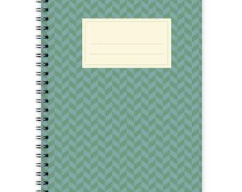 Notebook A5 - Green-Blue Chevron Pattern