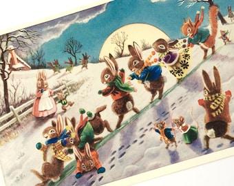 The Slide - Racey Helps Postcard - Vintage Unused PC  - Medici Society PK 255- 1970s - Anthropomorphic Animals - Winter Snow Scene