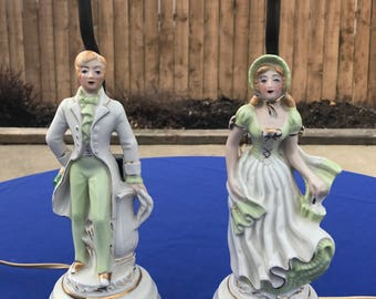 Vintage Victorian Man & Woman Figurine Lamps