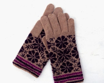 Hand knitted fair isle wool gloves with fingers, knit colorfuladult winter gloves, nordic ethnic boho hand warmers, accessories