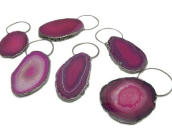 Pink Colored Agate Slice Pendant with Fancy Bail and Electroplated Gun Metal Edge AGBL (S114B10-06)