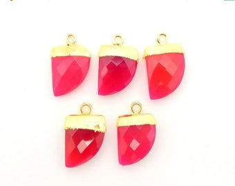 45% off Liquidation SALE 5 Petite Hot Pink Chalcedony Horn Pendant with 24k Gold Electroplated Cap and Bail BULK of 5 (S74B10-17)