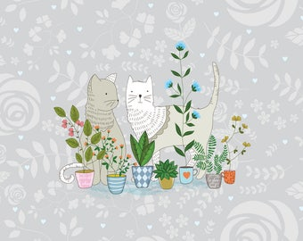 Wall Decor, Illustration art - Cats in the garden - Room decor, Wall art print