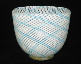 Dino Martens Aureliano Toso Mezza Filigrana 1950s Murano Art Glass Square Bowl Vase - White & Blue Crossed Canes