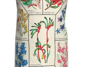 Metro Retro Australian WildFlowers Vintage HANDMADE Ladies Kitchen Apron   - OOAK , upcycled  BIRTHDAY  Gift  Idea