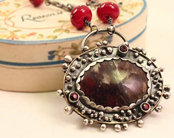 Mixed Metal Ruby in Matrix Agate and Garnet Necklace, Artisan Metalwork, Steampunk, Industrial