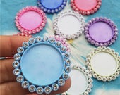 30pc 35mm assorted resin round cabochon/cameo blank setting pendants/bezel trays(fit 25mm cabochons)--crystal donated