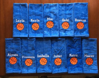 11 Personalized basketball towels with .50 discount per towel and priority 3 day shipping included.