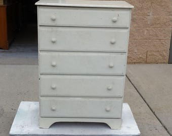 Vintage Rustic Chest, Dresser, farmhouse shabby chic, PICK UP ONLY painting included, storage, bureau, distressed bedroom, cottage, beach