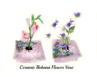 ikebana vase - ikebana pottery - Japanese flower vase - ceramic ikebana - hostess gift - # 44
