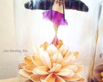 Needle Felted wool Dancing hummingbird,Allen's Hummingbird Sculpture,ballerina