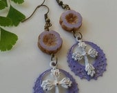 Cross Earrings Purple Earrings Flower Earrings Rustic Bohemian Gypsy Earrings